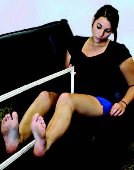 Lower limb amputee using mirror therapy